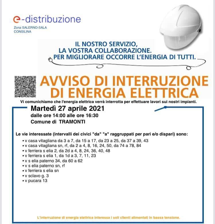 interruzione elettrica tramonti 27 aprile