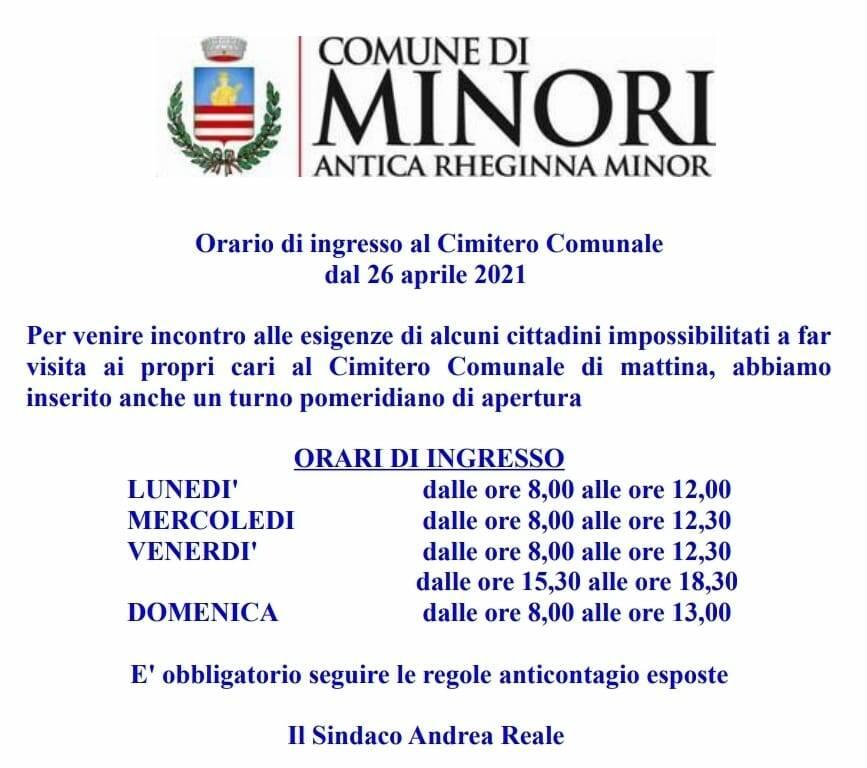 Minori, gli orari di ingresso al Cimitero Comunale valevoli dal 26 aprile 2021