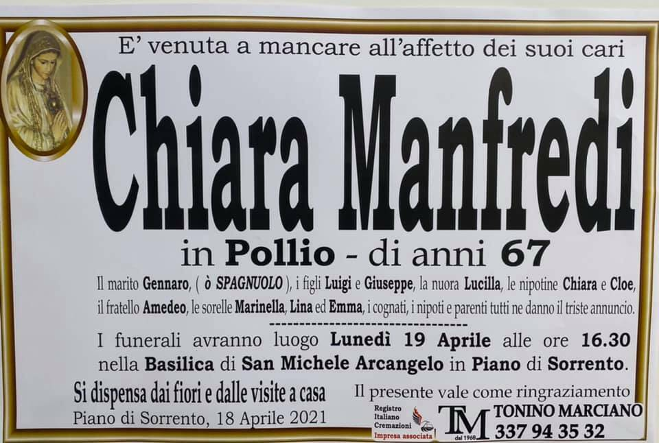 Piano di Sorrento piange la 67enne Chiara Manfredi in Pollio