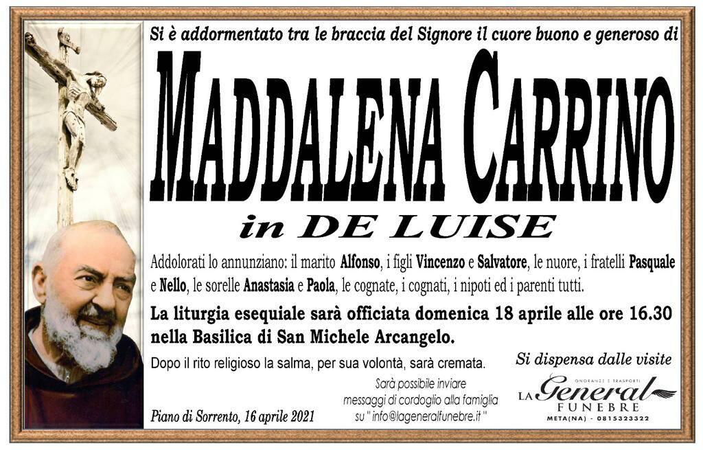 Piano di Sorrento: si è addormentata tra le braccia del Signore Maddalena Carrino, in De Luise