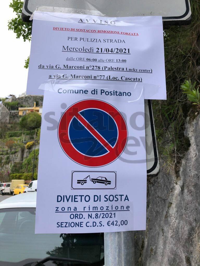 Positano, mercoledì 21 aprile divieto di sosta per pulizia strada: ecco dove