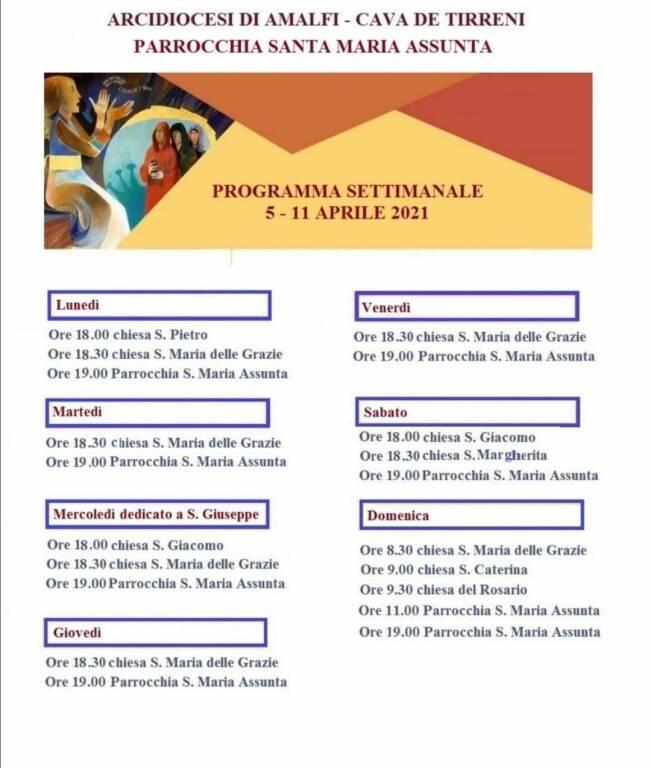 Positano, Parrocchia S. Maria Assunta. Celebrazioni religiose da lunedì 5 a domenica 11 aprile 2021