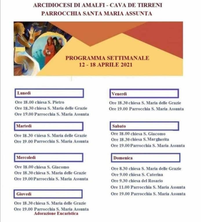 Positano, Parrocchia Santa Maria Assunta. Celebrazioni religiose da lunedì 12 a domenica 18 aprile 2021