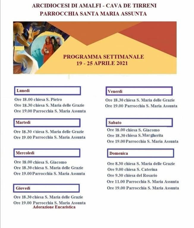 Positano, Parrocchia Santa Maria Assunta: il programma delle Celebrazioni Religiose di questa settimana