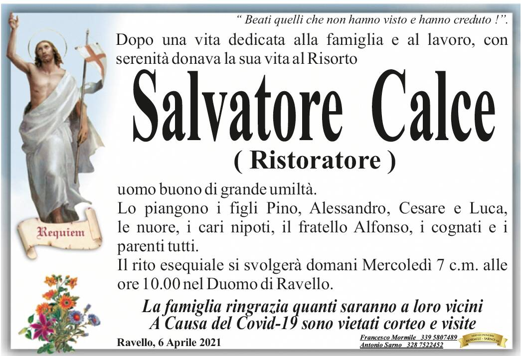 Ravello in lutto per la scomparsa di Salvatore Calce, uno dei suoi più grandi ristoratori