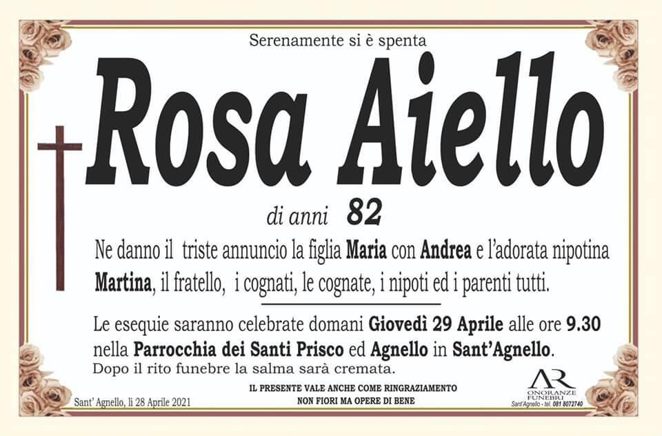 Sant'Agnello piange la scomparsa dell'82enne Rosa Aiello