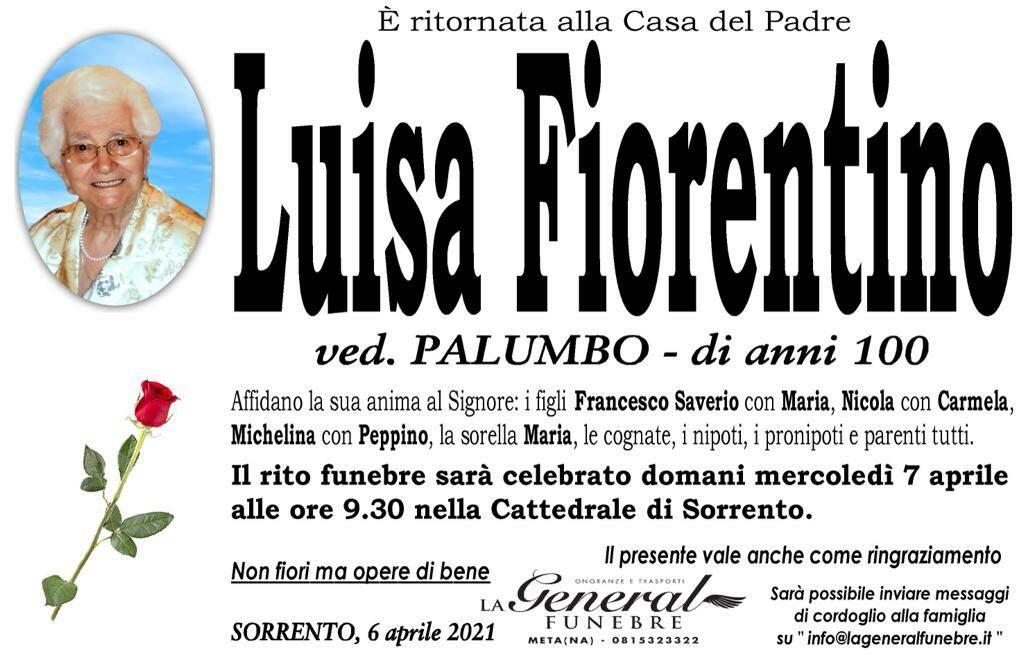 Sorrento: all'età di 100 anni Luisa Fiorentino, vedova Palumbo, è tornata alla Casa del Padre
