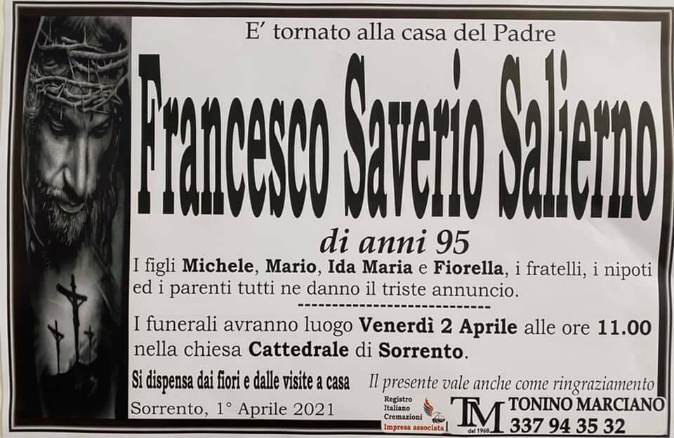 Sorrento, ci lascia il 95enne Francesco Saverio Salierno