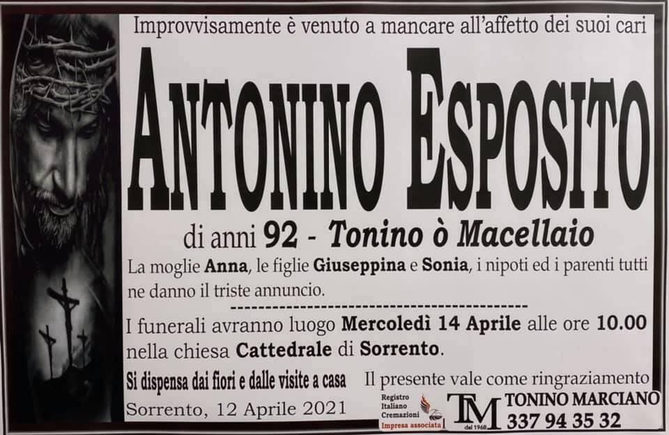 """Sorrento, lutto per la scomparsa di Antonino Esposito """"Tonino ò Macellaio"""""""
