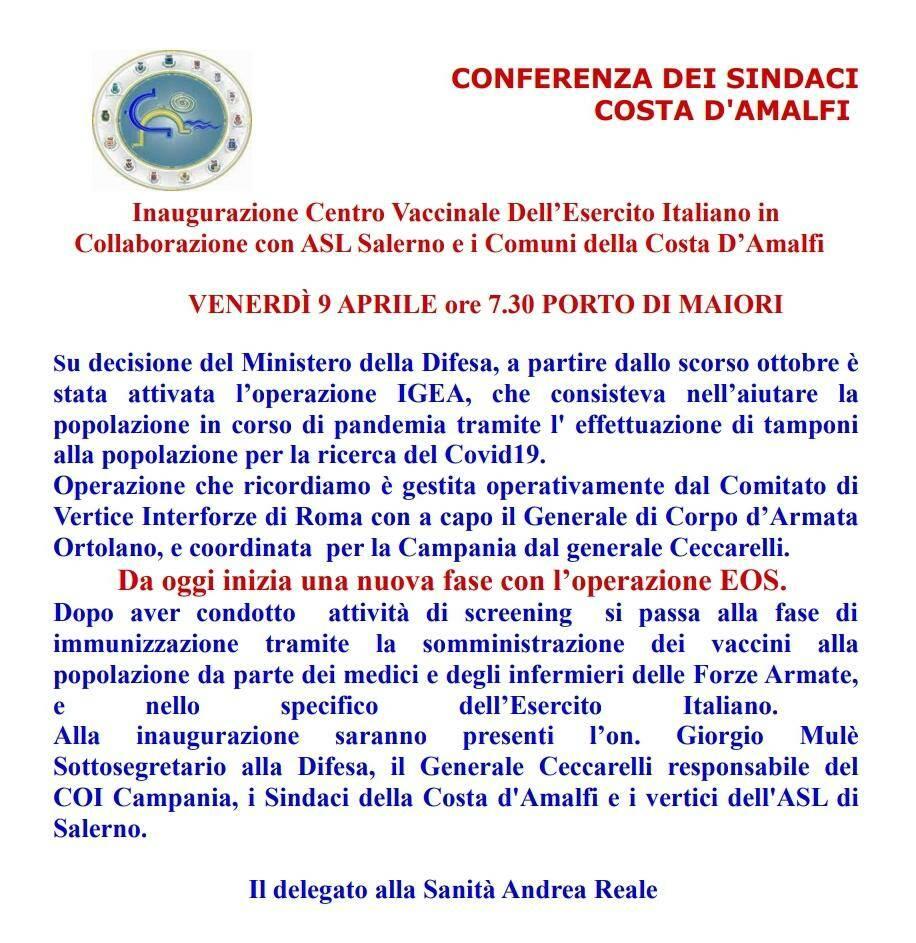 Su Uno Mattina l'inaugurazione del Centro Vaccinale dell'Esercito Italiano a Maiori
