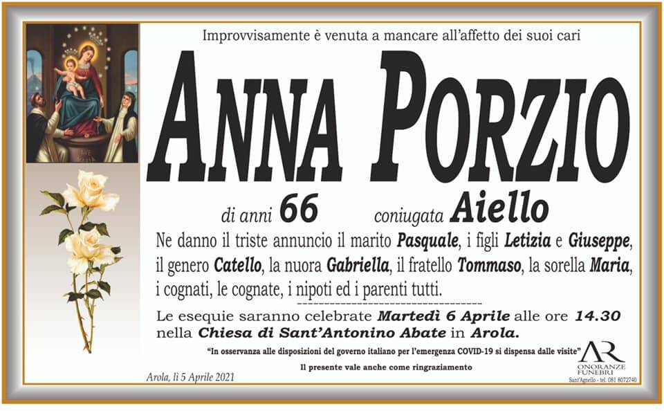 Vico Equense, Arola piange l'improvvisa scomparsa della 66enne Anna Porzio in Aiello
