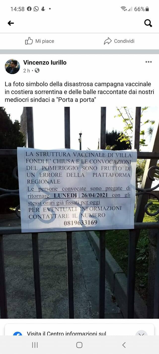 Villa Fondi cartello centro vaccinale di Piano di Sorrento