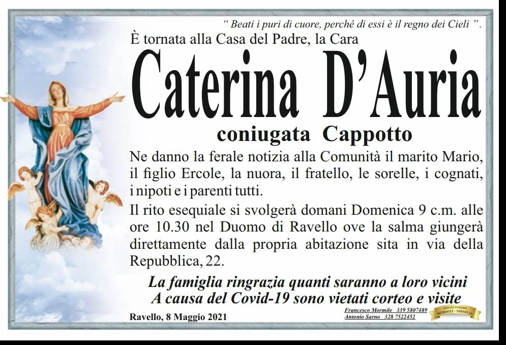 Caterina D'Auria lutto