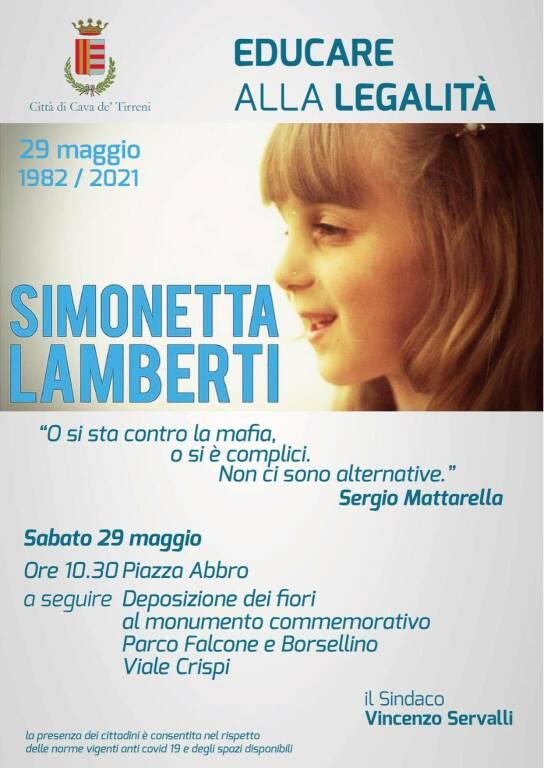 Cava de' Tirreni ricorda Simonetta Lamberti a 39 anni dalla sua tragica scomparsa