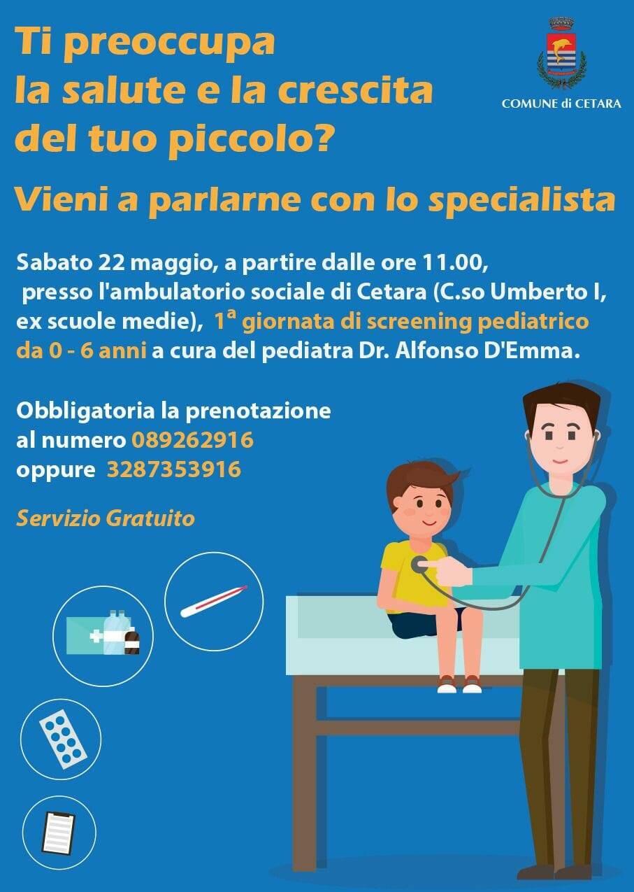 Cetara, sabato 22 maggio I Giornata di screening pediatrico