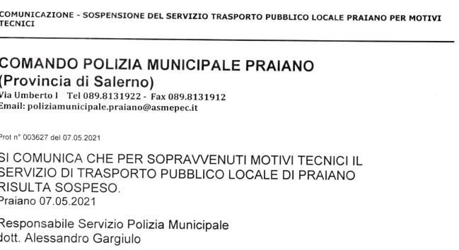 Comunicazione interruzione servizio di trasporto pubblico interno a Praiano