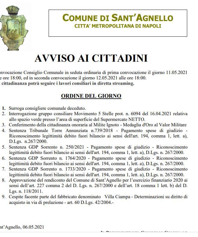 Consiglio comunale Sant'Agnello odg