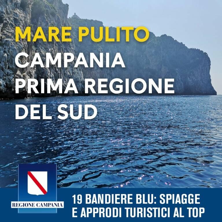 In Campania 19 bandiere blu, prima regione del Sud Italia. Mare pulito anche a Vico Equense, Piano di Sorrento, Sorrento, Massa Lubrense, Anacapri e Positano