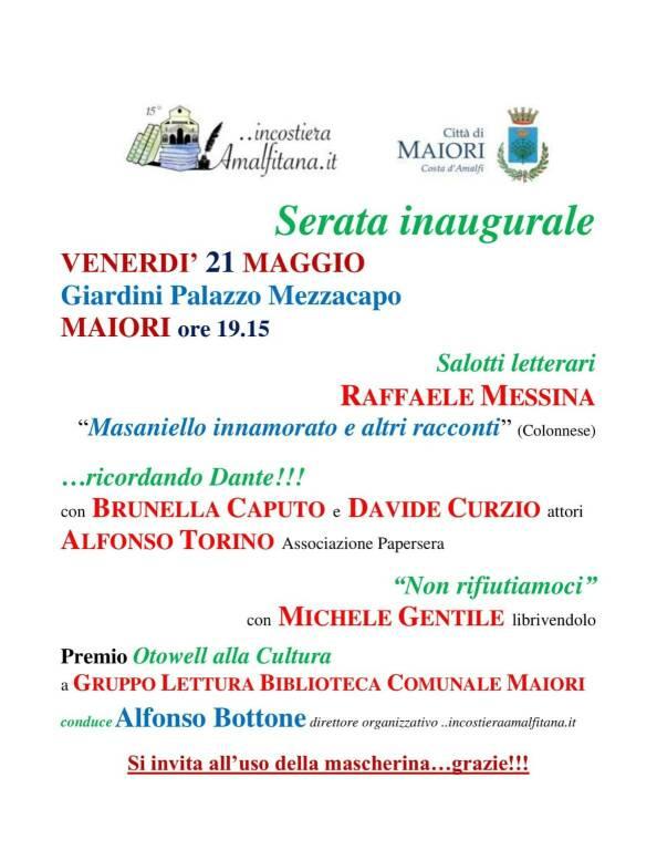 Maiori, questa sera con la XV edizione di ...incostieraamalfitana.it il ricordo di Dante