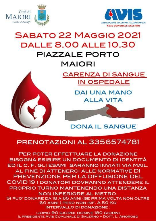 Maiori, sabato 22 maggio la giornata dedicata alla donazione del sangue