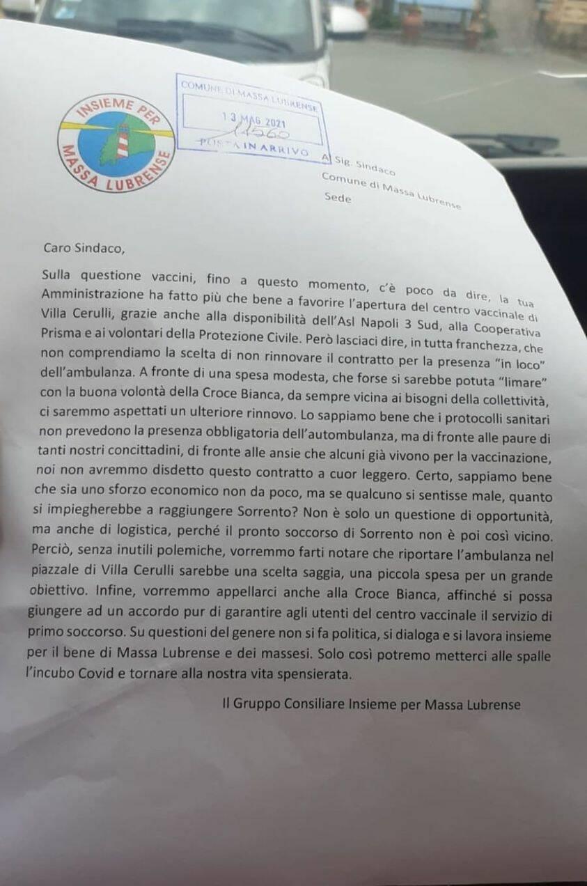 Massa Lubrense, lettera dal Gruppo Consiliare Insieme per il sindaco