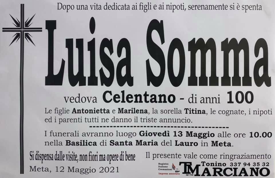 Meta piange la scomparsa della centenaria Luisa Somma, vedova Celentano