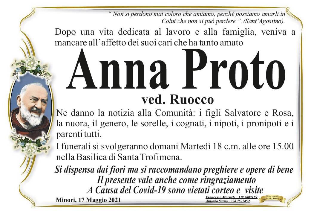 Minori: ci ha lasciato Anna Proto, vedova Ruocco