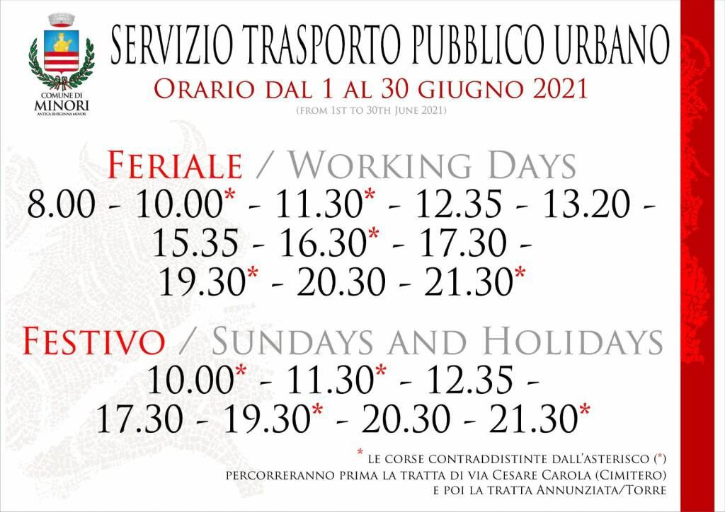 Minori, i nuovi orari del servizio di trasporto pubblico urbano per il mese di giugno