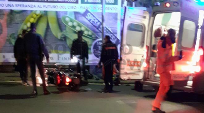 Piano di Sorrento, incidente stradale sul Corso Italia all'incrocio con Via dei Pini