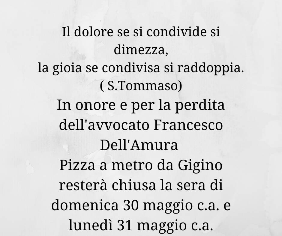pizza a metro chiusa per lutto