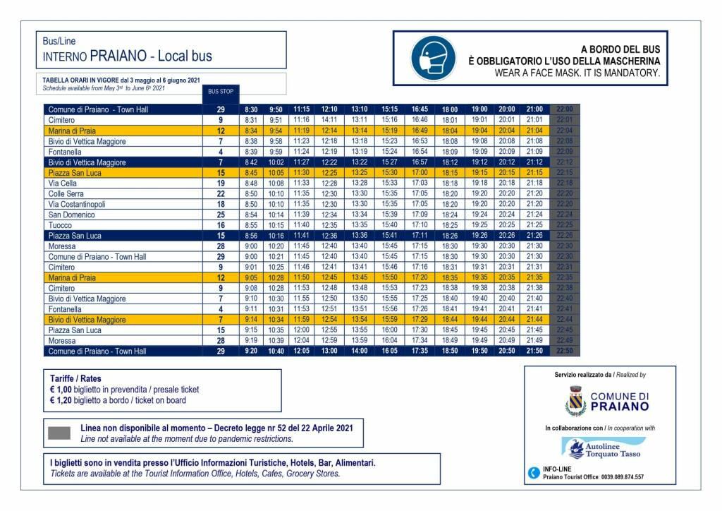 Praiano, il nuovo orario del servizio di trasporto interno in vigore da lunedì 3 maggio
