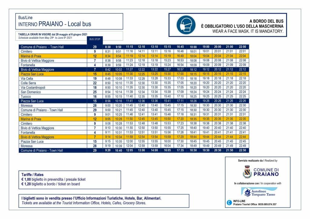 Praiano, il nuovo orario del servizio di trasporto interno in vigore da sabato 29 maggio
