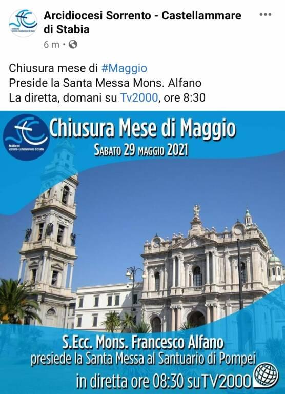 Sabato 29 maggio Santa Messa da Pompei presieduta da Mons. Francesco Alfano, trasmessa in diretta tv