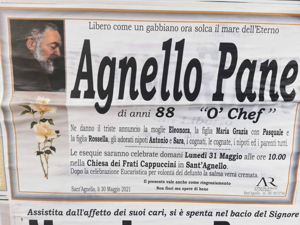"""Sant'Agnello in lutto: all'età di 88 anni è scomparso Agnello Pane, """"O' Chef"""""""