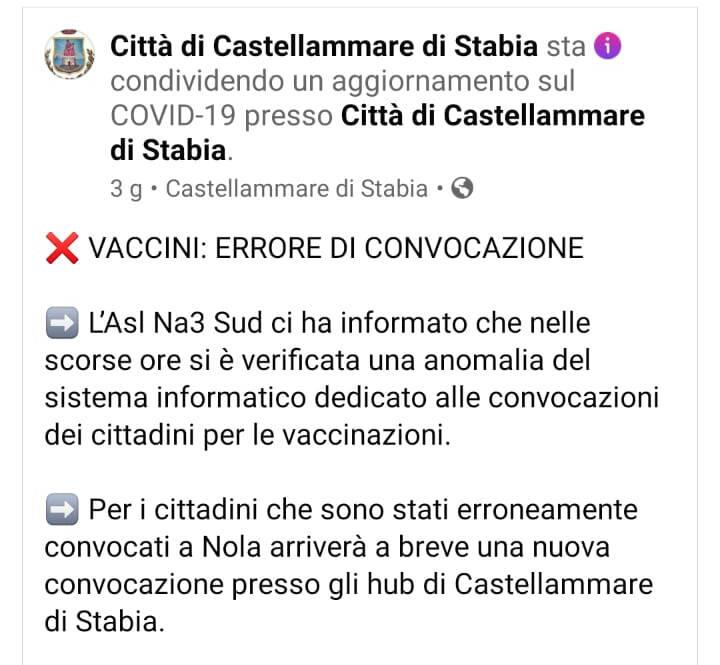 Vaccini, confusione a Piano di Sorrento e Castellammare di Stabia per errori dell sistema gestito dall'ASL