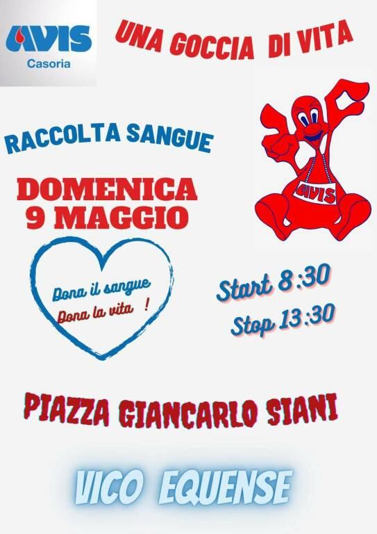 Vico Equense, domenica 9 maggio in Piazza Giancarlo Siano postazione per la donazione del sangue