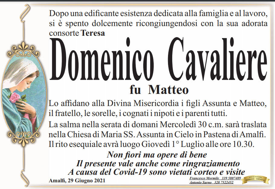 Amalfi, addio a Domenico Cavaliere fu Matteo
