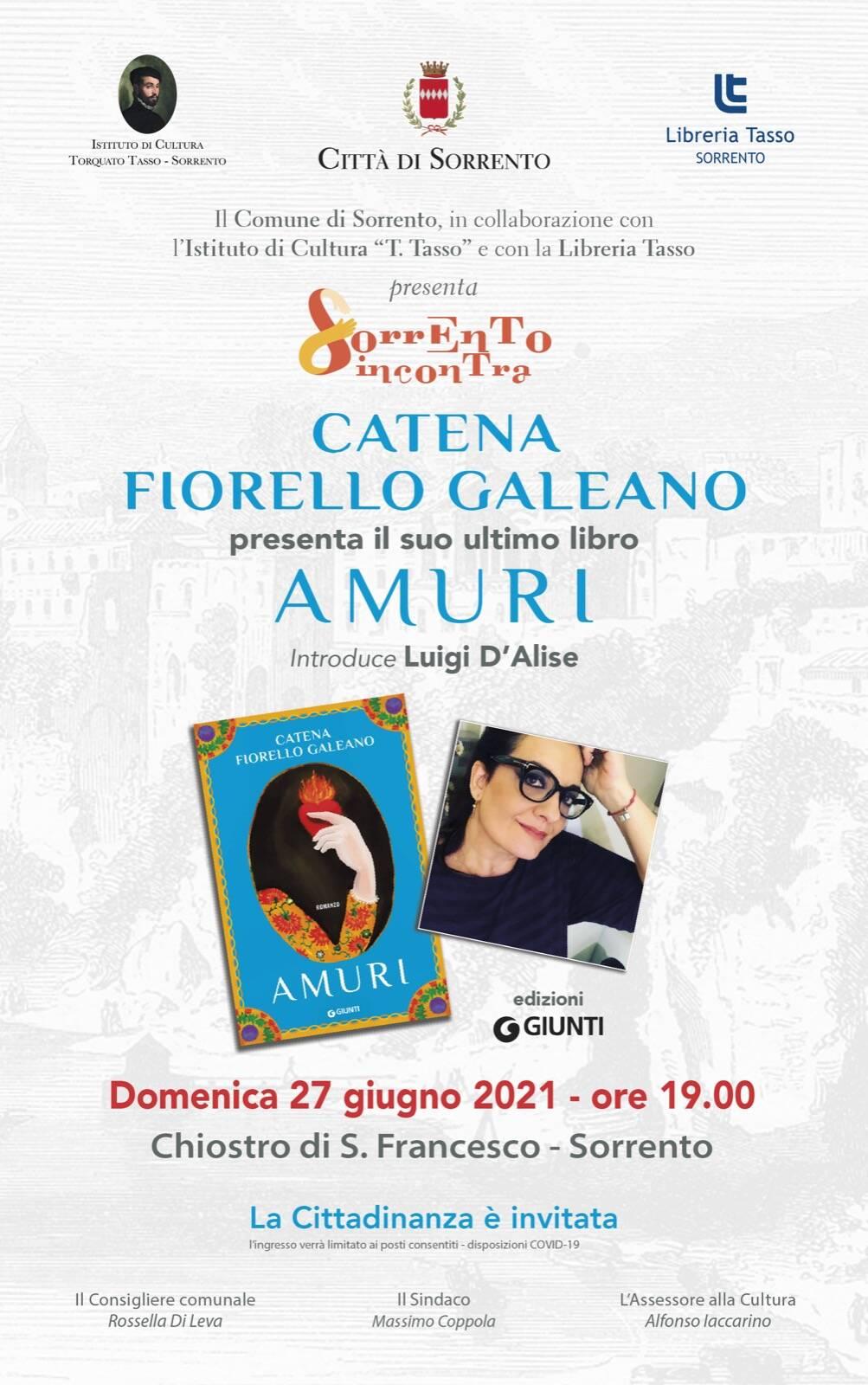 """Libri. Catena Fiorello Galeano: a Sorrento con """"Amuri"""""""