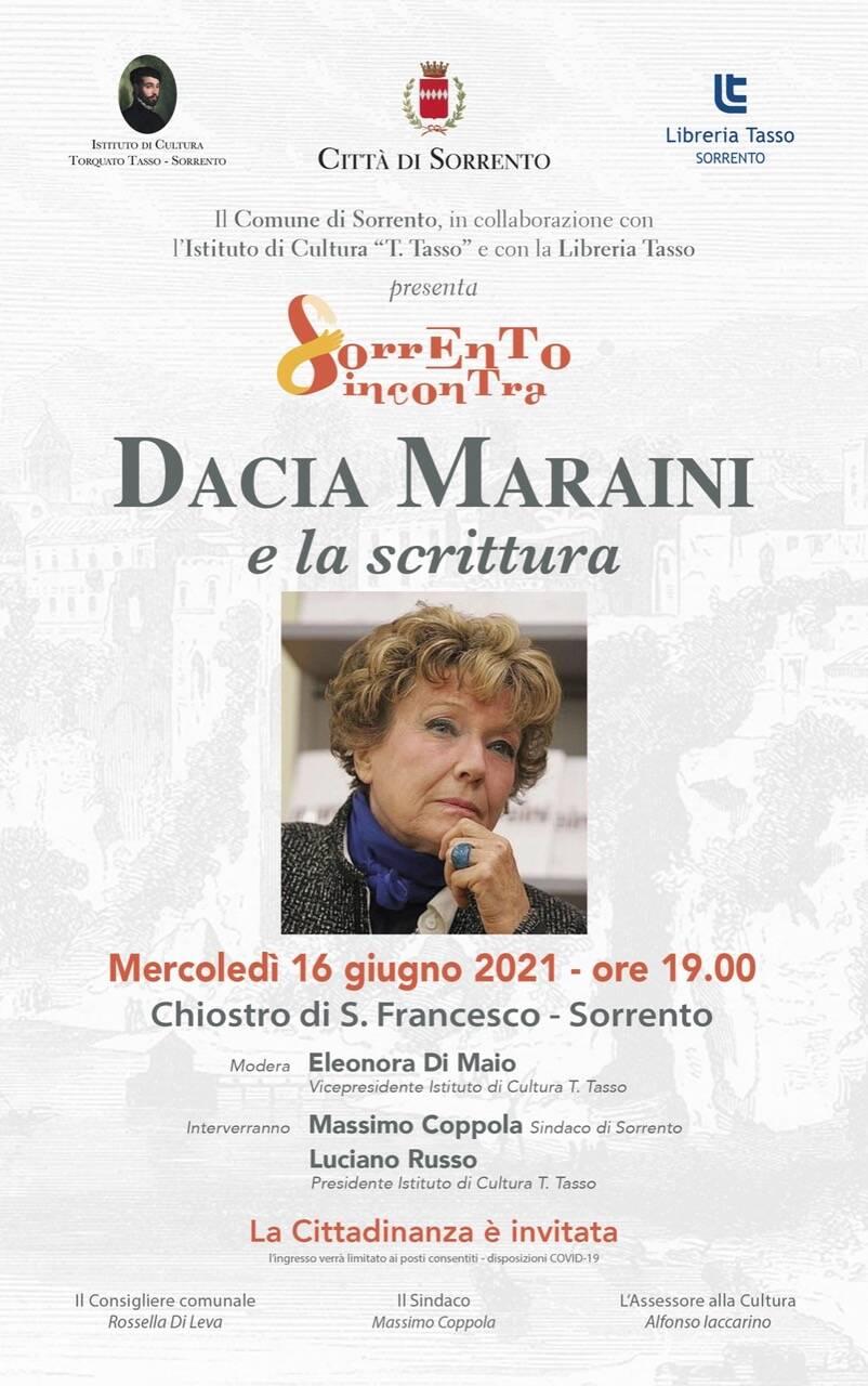 """Cultura. """"Dacia Maraini e la scrittura"""", una conferenza a Sorrento"""