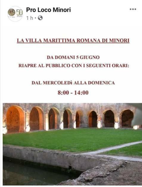 Da domani riapre al pubblico la Villa Marittima Romana di Minori