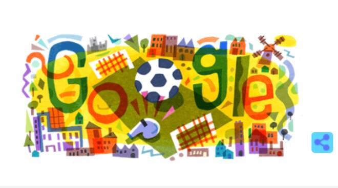 Il Doodle di Google di oggi festeggia l'inizio degli Europei di calcio