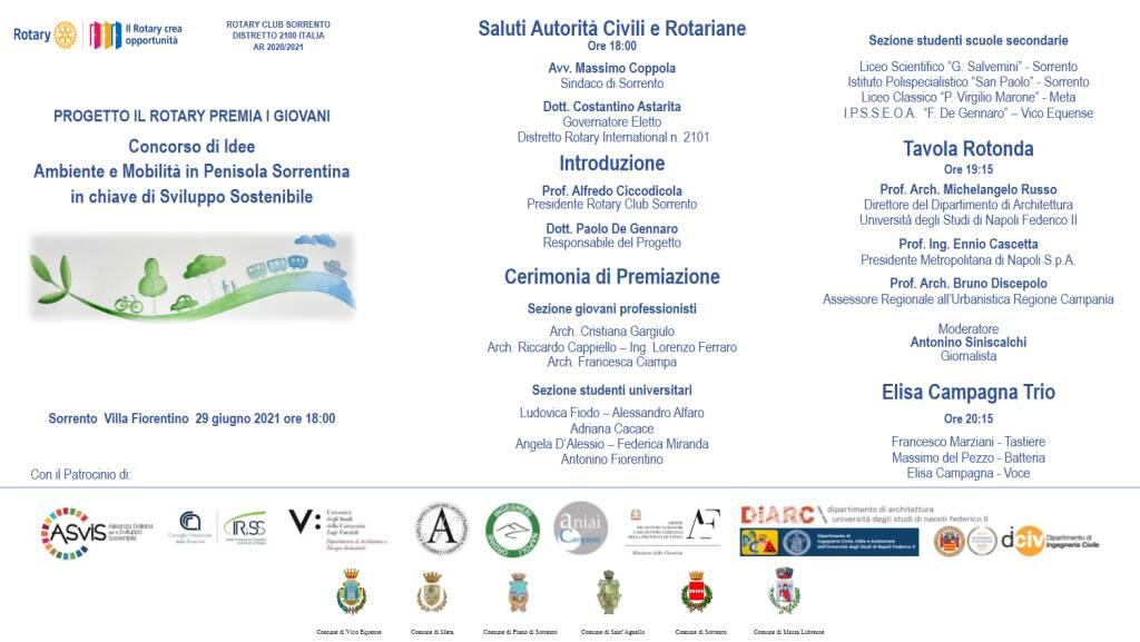 """Il Rotary premia i giovani: Concorso di idee sul tema """"Ambiente e Mobilità in Penisola Sorrentina in chiave di sviluppo sostenibile"""". Il 29 giugno la cerimonia"""