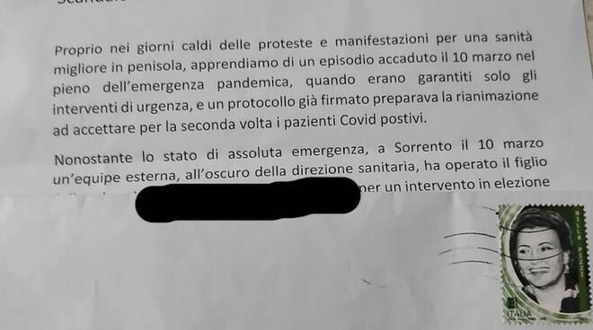 Lettera ospedale Corvo