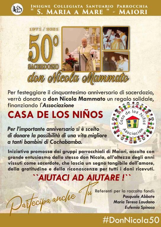 Maiori: in occasione del 50° anniversario di Sacerdozio di Don Nicola Mammato, la Parrocchia Santa Maria a Mare lancia la raccolta fondi per l'Associazione La Casa de los Ninos