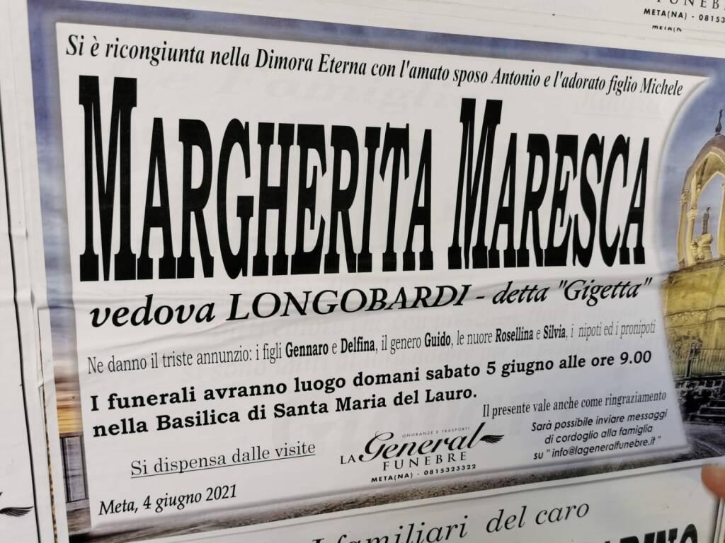 "Meta piange Margherita Maresca, vedova Longobardi, detta ""Gigetta"""