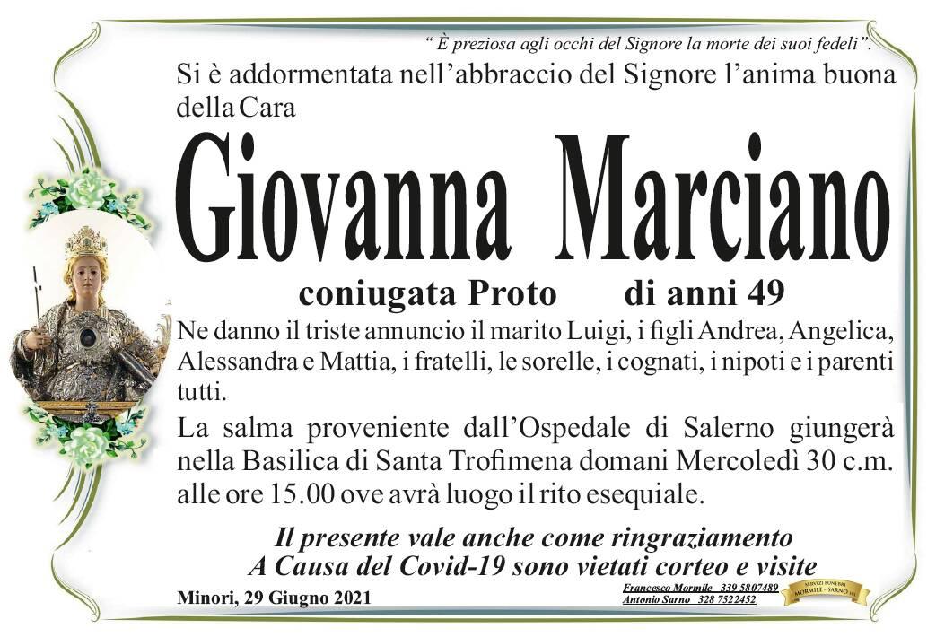 Minori in lutto: a 49 anni ci ha lasciati Giovanna Marciano, in Proto