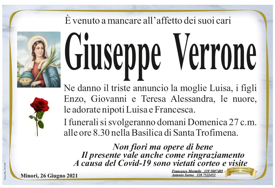 Minori in lutto: è venuto a mancare all'affetto dei suoi cari Giuseppe Verrone