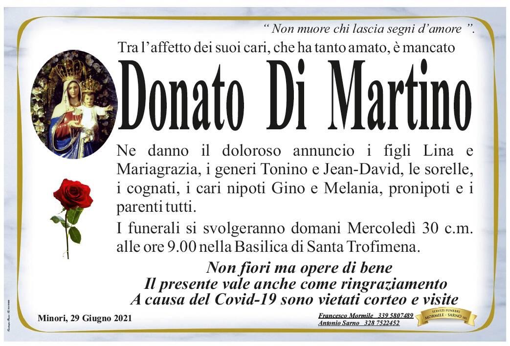 Minori in lutto: è venuto a mancare Donato Di Martino