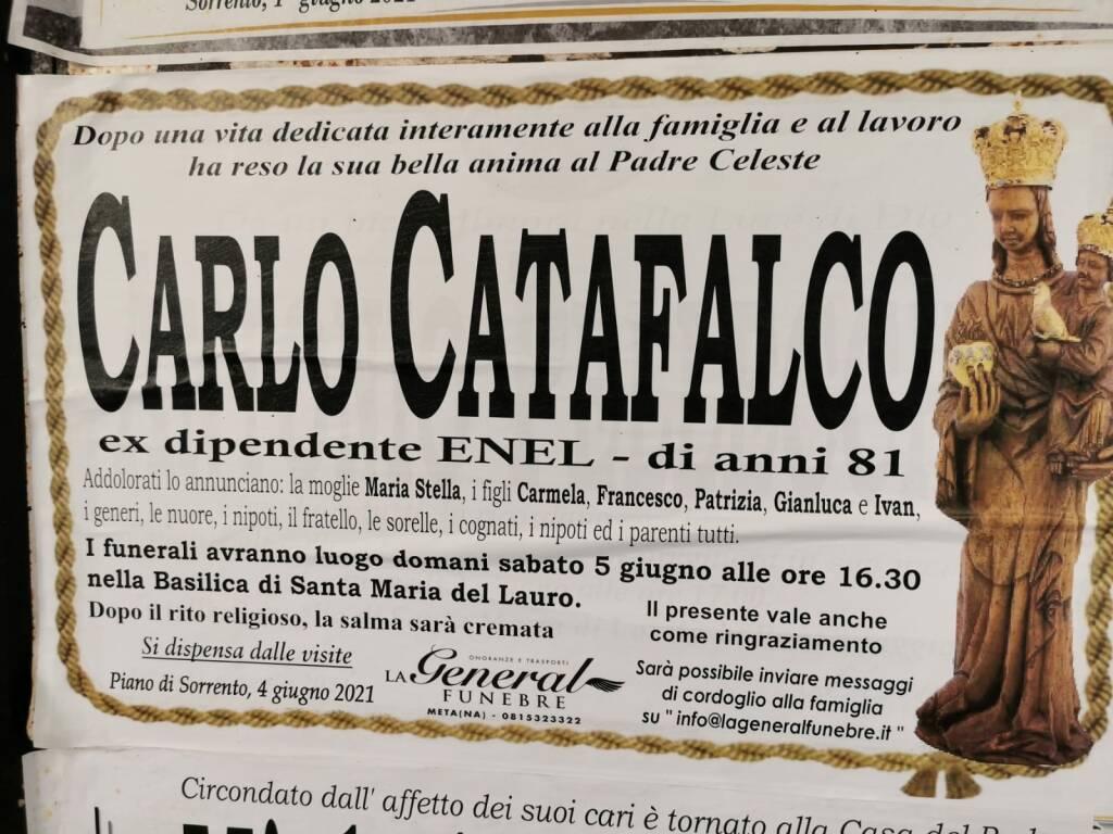 Piano di Sorrento in lutto: all'età di 81 anni è scomparso Carlo Catafalco, ex dipendente Enel