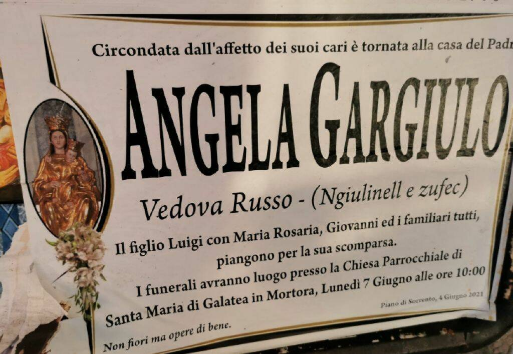 Piano di Sorrento, si è spenta a Tuoro sul Trasimeno Angela Gargiulo vedova Russo